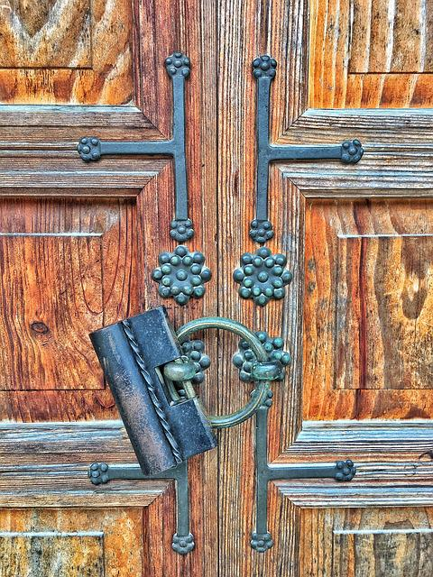 Korea, Jingfu Palace, Government, Door, Lock, Wood
