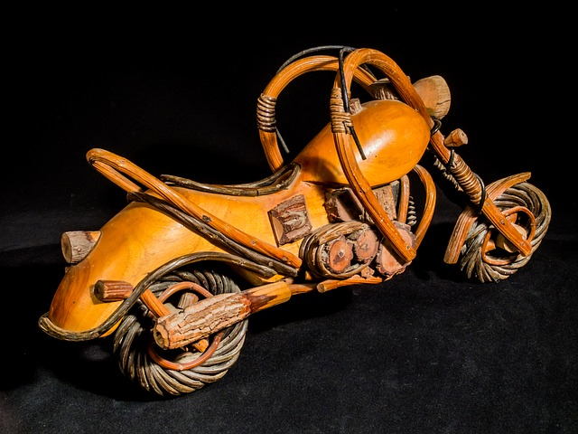 Wooden Motorcycle, Wood Model, Art From Thailand