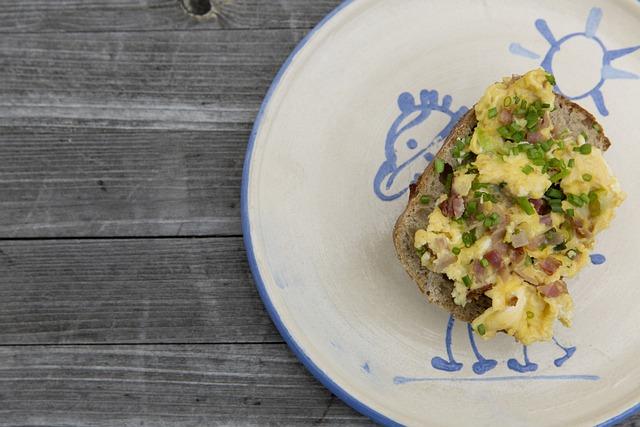 Breakfast, Egg, Roll, Plate, Ceramic, Table, Wood