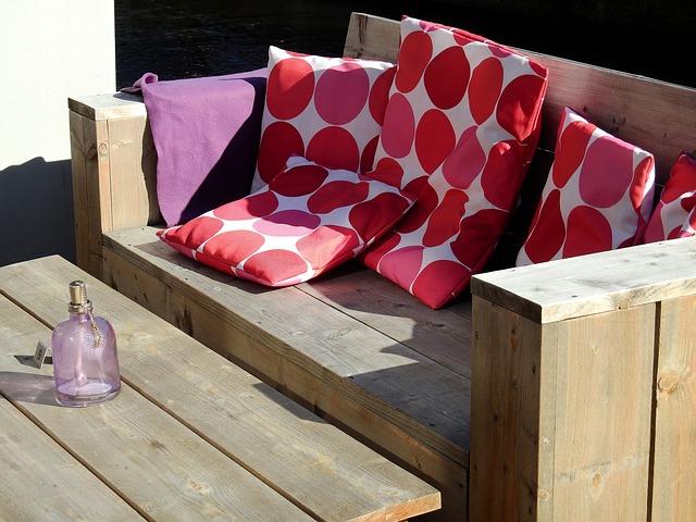 Bank, Sit, Wooden Bench, Wood, Pillow, Deco, Decoration