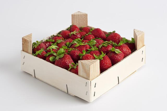 Box, Strawberries, Smurf, Wood