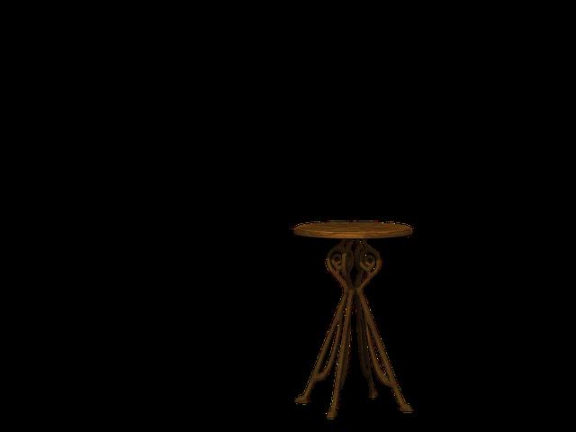 Table, Round Table, Wood, Metal, Digital Art, Isolated