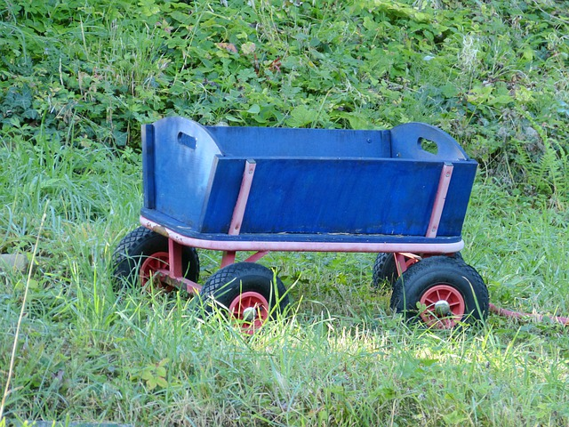 Wood Car, Blue, Wood, Transport, Rubber, Wheels