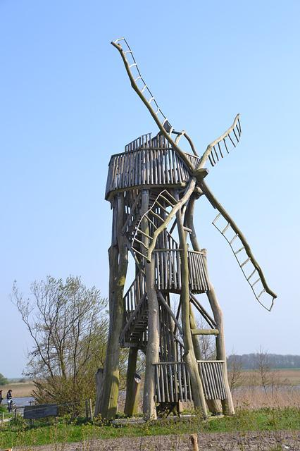 Windmill, Wood, Texel, Netherlands, Holiday