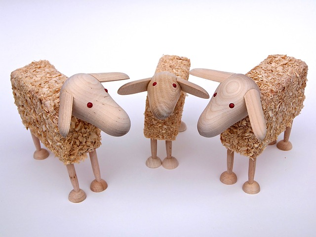 Sheep, Wooden Sheep, Wood Wool, Tinker, Play, Toys