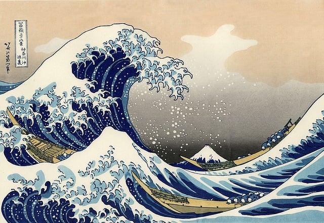Image, Woodblock Printing, Woodcut, Wave