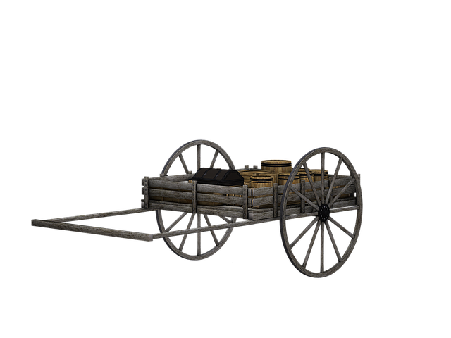 Cart, Wooden Cart, Dare, Wooden Barrels, Isolated