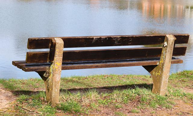 Tranquility Base, Wooden Bench, Bank