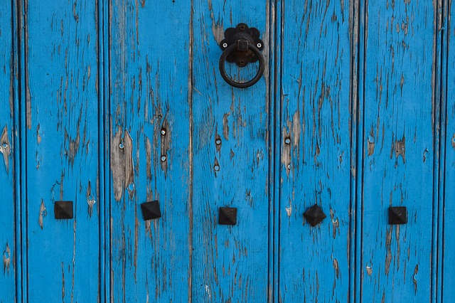 Door, Wooden, Blue, Aged, Weathered, Architecture