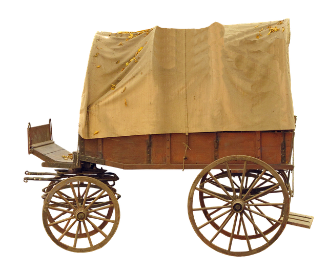 Covered Wagon, Wooden Cart, Spokes, Means Of Transport