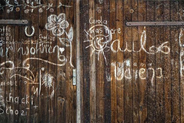 Grafitti, Font, Wall, Wooden Wall, Wooden Door