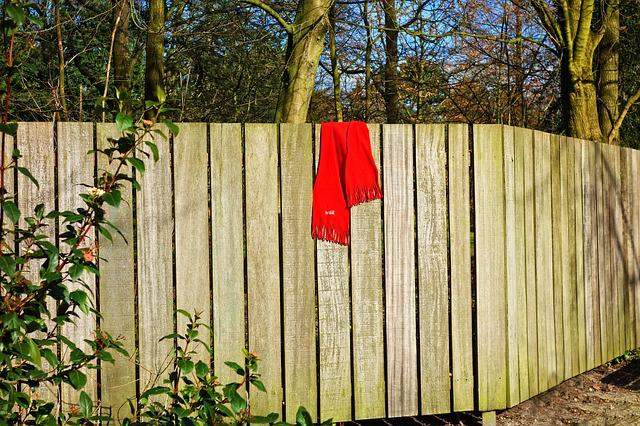 Wooden Fence, Fence, Plank, Scarf, Red Scarf, Woolen
