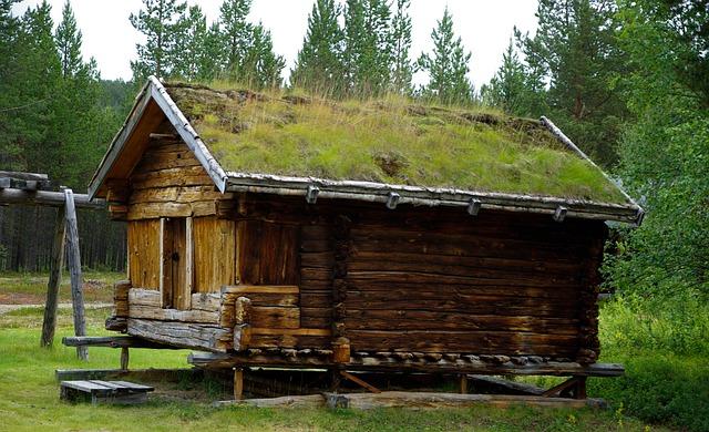 Finland, Wooden House, Grass Roof, Farm