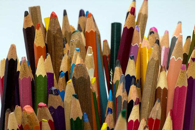 Wooden Pegs, Pens, Colorful, Close
