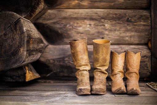 Boots, Footwear, Rustic, Wall, Wooden