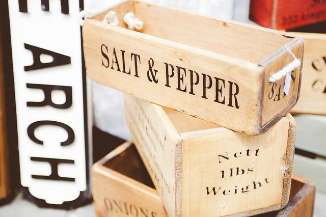 Containers, Pepper, Salt, Wooden
