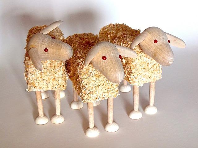Sheep, Wooden Sheep, Wood Wool, Tinker, Play, Toys
