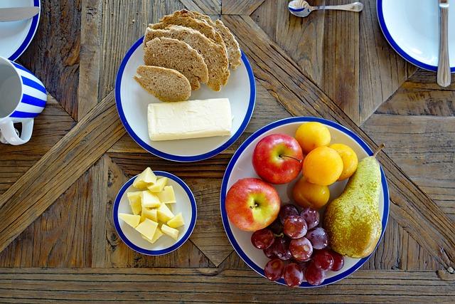 Breakfast, Fruit, Bread, Butter, Cheese, Wooden Table