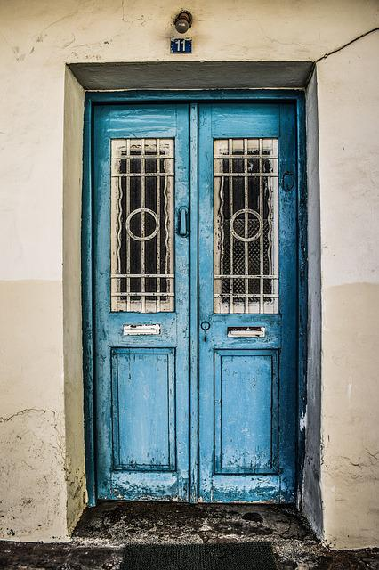 Door, Old, Traditional, Wooden, Blue, Village, Cyprus