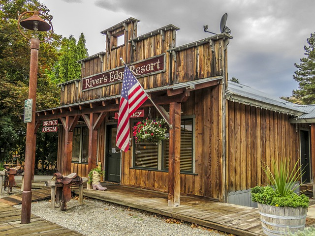 Wild West, Wooden, Building, American Flag, Vintage