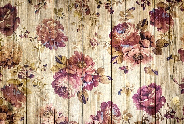 On Wood, Wooden Wall, Vintage, Romantic, Roses, Wood