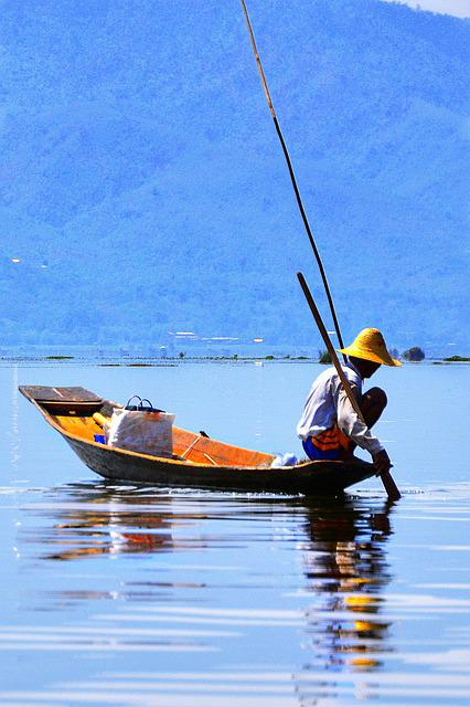 Fishing, Boat, Small, Wooden, Water, Fisherman, Inle