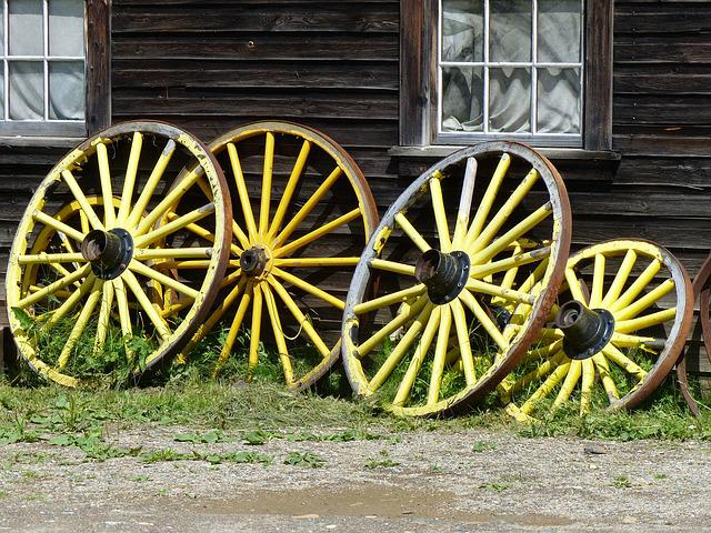 Wagon Wheels, Wooden, Yellow, Old, Antique