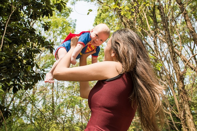 Hero, Superman, Mother, Baby, Woods, Forest, Happy