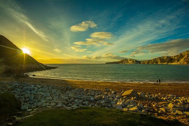 Worbarrow Bay, Dorset, Of The Sea, Nature, Sunset