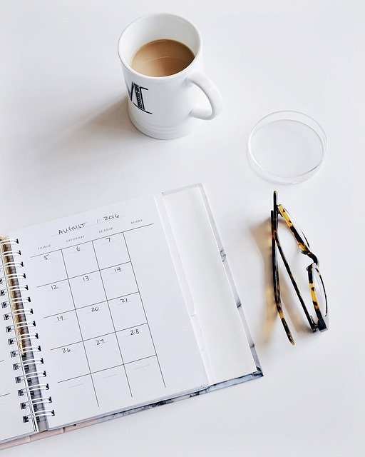 Calendar, Eyeglasses, Plan, Work, Desk, Business