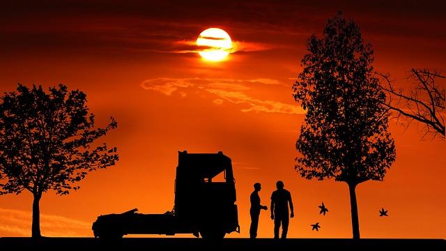 Sunset, Truck, Man, Transport, Vehicle, Work