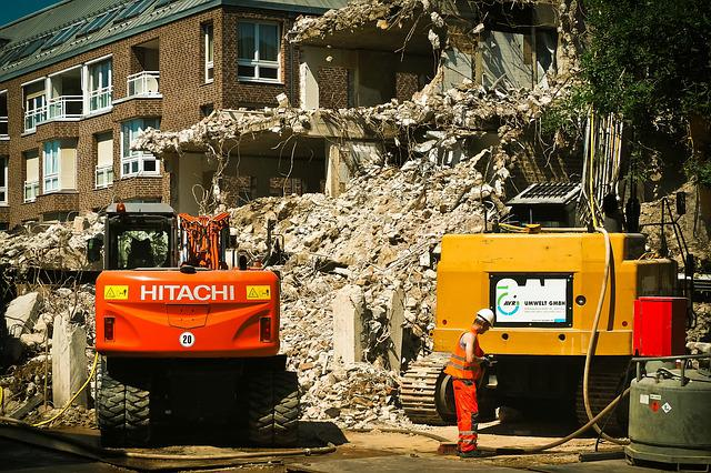 Site, Demolition, Excavators, Home, Work, Crash