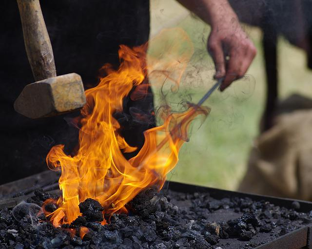 Craft, Forge, Work, Village Smithy, Fire, Middle Ages