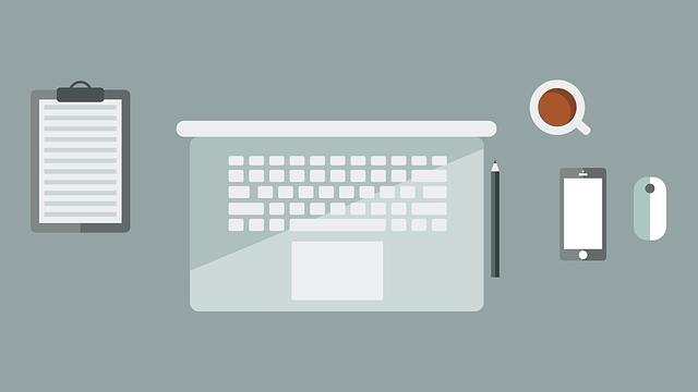 Laptop, Workspace, Flat Design, Terminal Board