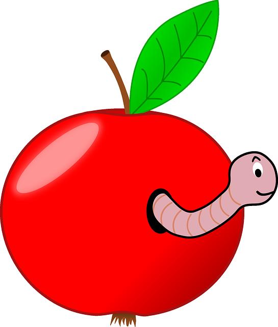 Wormhole, Apple, Fruit, Red, Worm, Worm-eaten