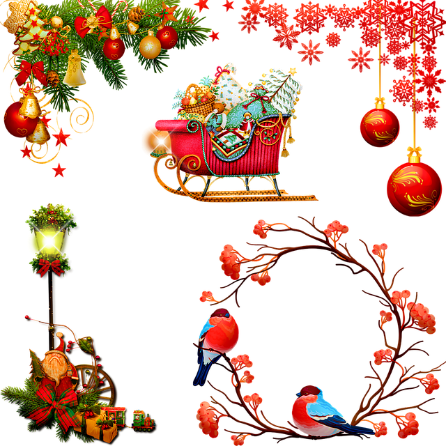 Christmas Ornaments, Wreath, Lights, Ornament