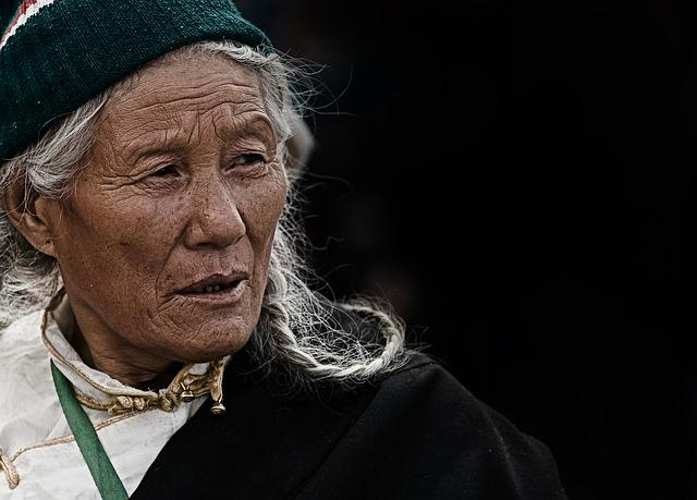 Woman, Elderly, Tibet, Nepal, Portrait, Face, Wrinkled