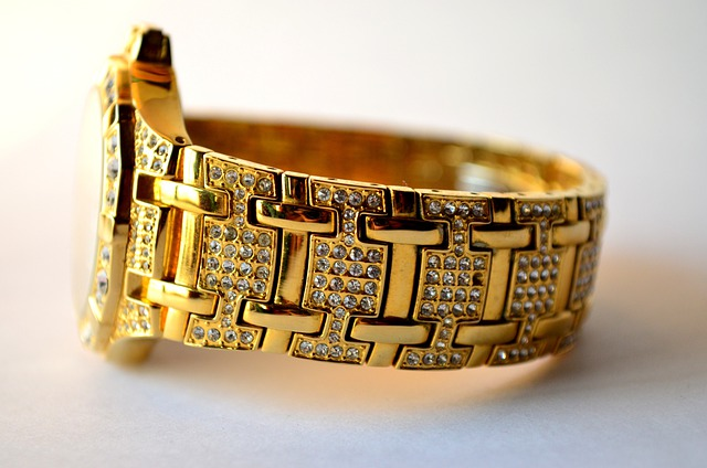 Watch, Wrist, Band, Gold, Jewellery, Gems, Studded