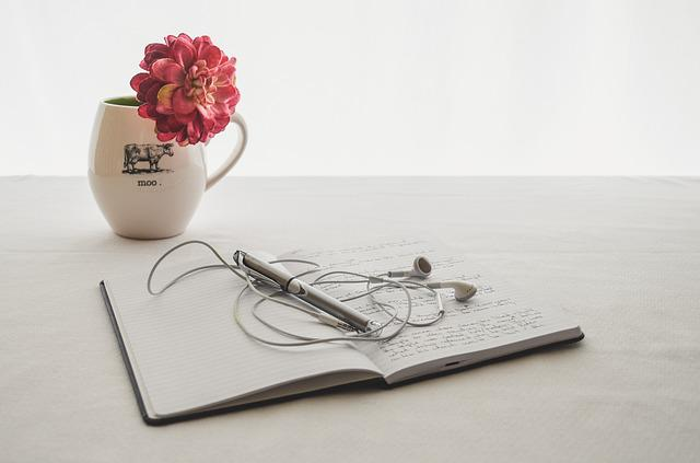 White, Earbuds, Journal, Writing, Mug, Flower, Hobby