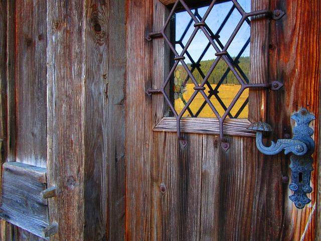 Door, Fitting, Wooden Door, Wrought Iron, Old Door