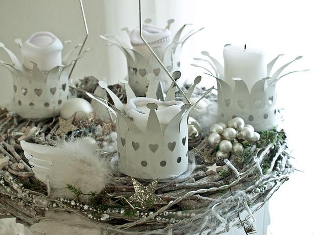 Advent Wreath, White, Christmas, X Mas