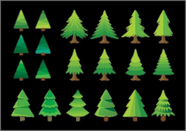 Christmas Trees, Set, Xmas, Christmas, Tree, Cartoon