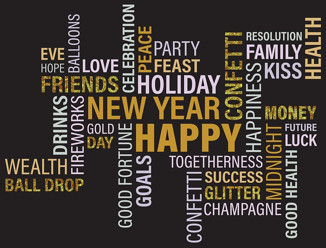 New, Year, Gold, Reflection, Celebrate, Party, Season
