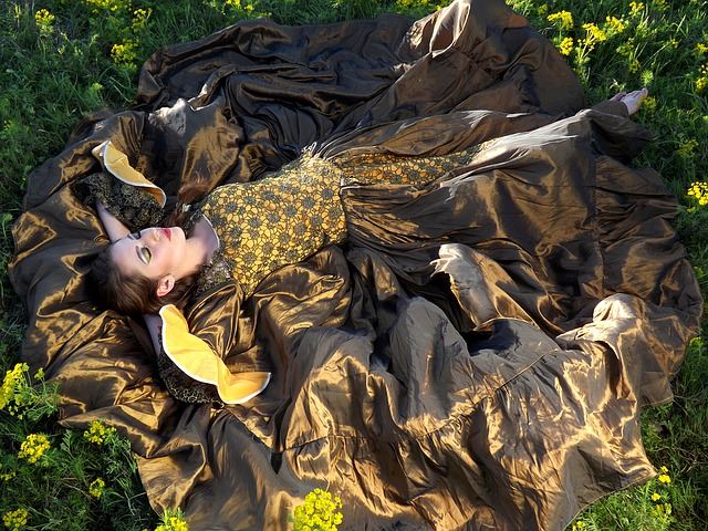 Girl, Sleep, Flowers, Yellow, Beauty
