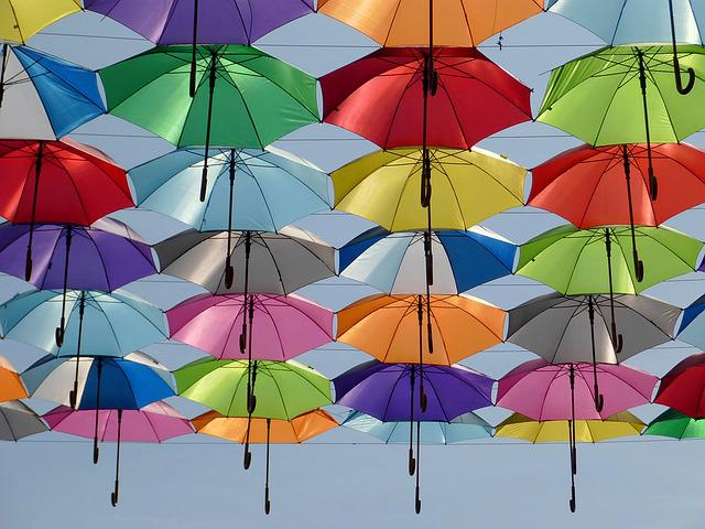 Umbrella, Color, Red, Green, Yellow, Blue, Sky