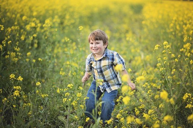 Mustard, Flowers, Boy, Yellow