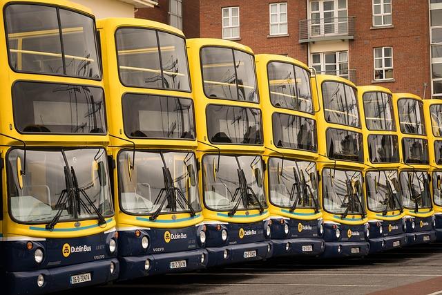 Bus, Dublin, Ireland, Public Transport, Yellow, Blue