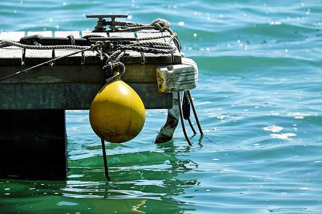 Boje, Yellow, Plastic, Jetty, Ropes, Water