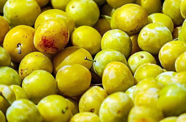 Yellow Plums, Fruit, Stone Fruit, Ripe, Summer