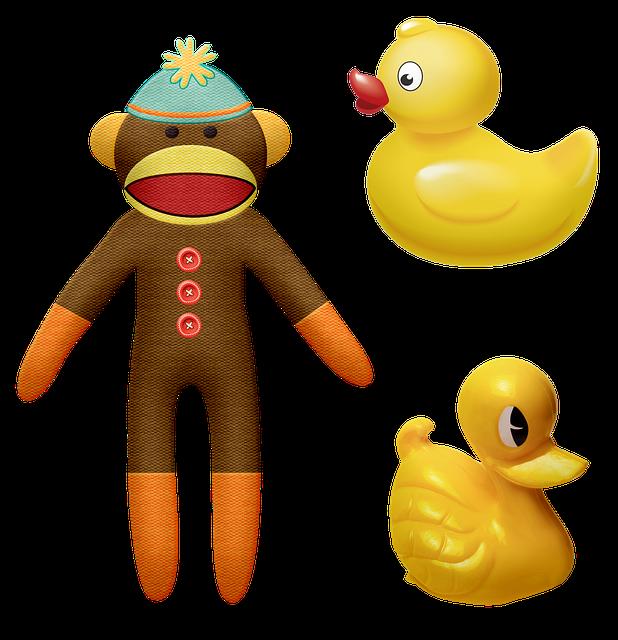 Sock Monkey, Monkey, Rubber Duckie, Toy, Yellow, Ducks